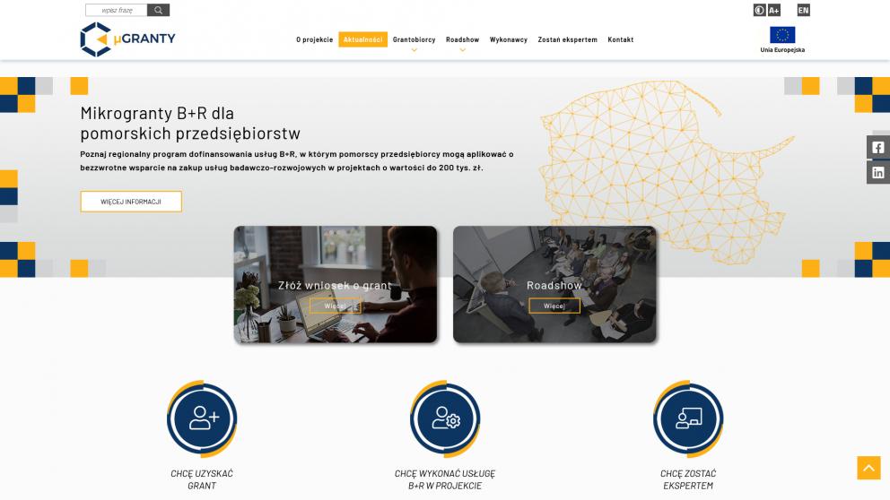 Projekt strony μGranty B+R dla przedsiębiorstw