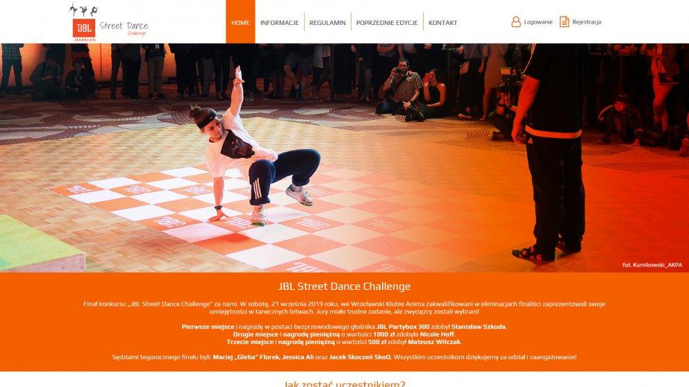 Projekt strony JBL - street dance