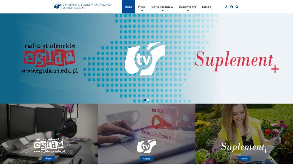Projekt strony Centrum Medialne - Uniwersytet Śląski w Katowicach
