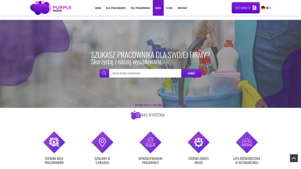 Projekt strony Purple Work